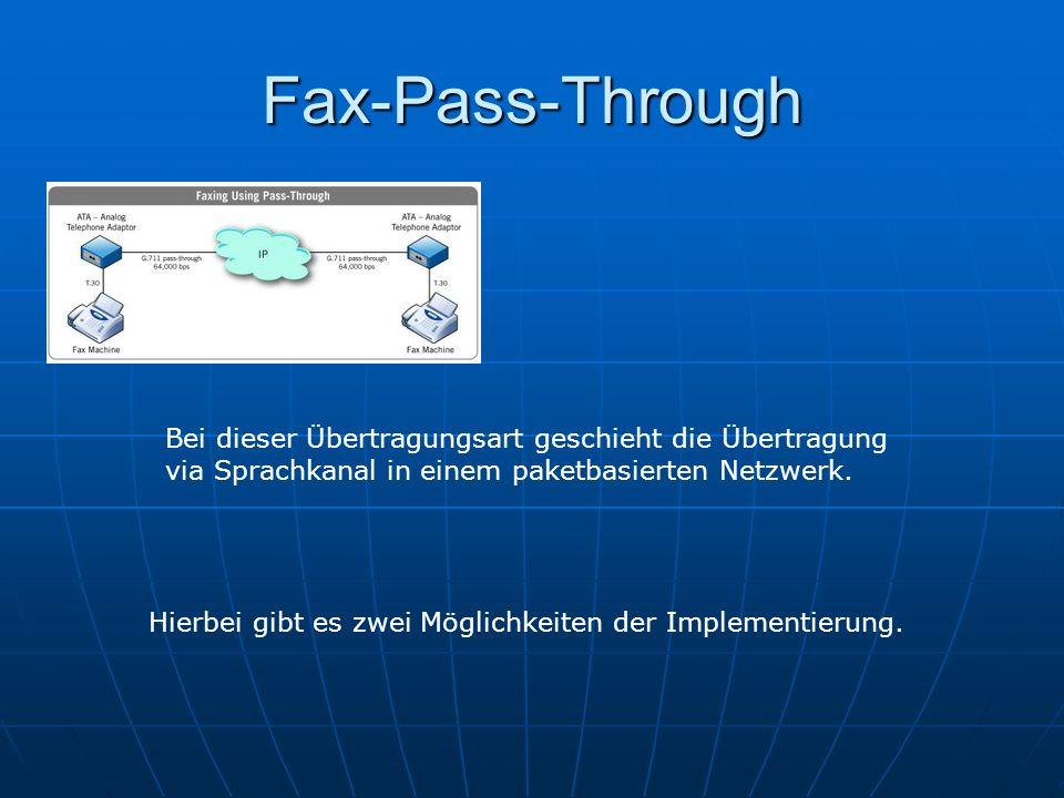 Fax-Pass-Through Bei dieser Übertragungsart geschieht die Übertragung via Sprachkanal in einem paketbasierten Netzwerk. Hierbei gibt es zwei Möglichke