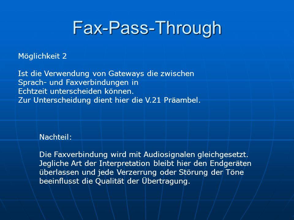 Fax-Pass-Through Möglichkeit 2 Ist die Verwendung von Gateways die zwischen Sprach- und Faxverbindungen in Echtzeit unterscheiden können. Zur Untersch