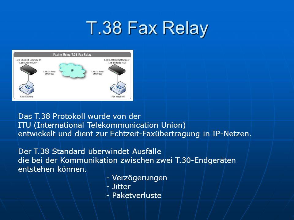 T.38 Fax Relay Das T.38 Protokoll wurde von der ITU (International Telekommunication Union) entwickelt und dient zur Echtzeit-Faxübertragung in IP-Net