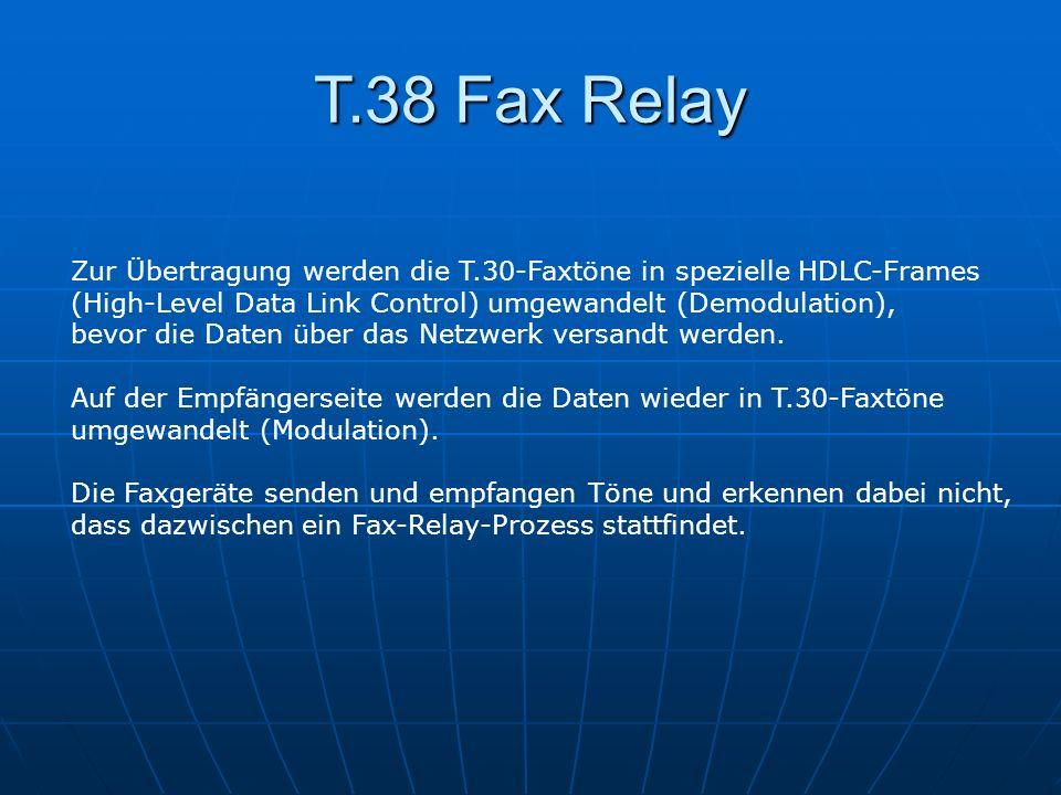 T.38 Fax Relay Zur Übertragung werden die T.30-Faxtöne in spezielle HDLC-Frames (High-Level Data Link Control) umgewandelt (Demodulation), bevor die D