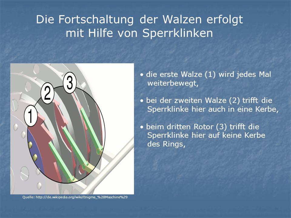 die erste Walze (1) wird jedes Mal weiterbewegt, bei der zweiten Walze (2) trifft die Sperrklinke hier auch in eine Kerbe, beim dritten Rotor (3) trifft die Sperrklinke hier auf keine Kerbe des Rings, Die Fortschaltung der Walzen erfolgt mit Hilfe von Sperrklinken Quelle: http://de.wikipedia.org/wiki/Enigma_%28Maschine%29