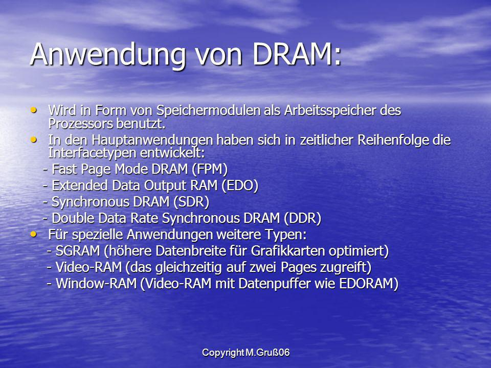 Copyright M.Gruß06 Anwendung von DRAM: Wird in Form von Speichermodulen als Arbeitsspeicher des Prozessors benutzt.