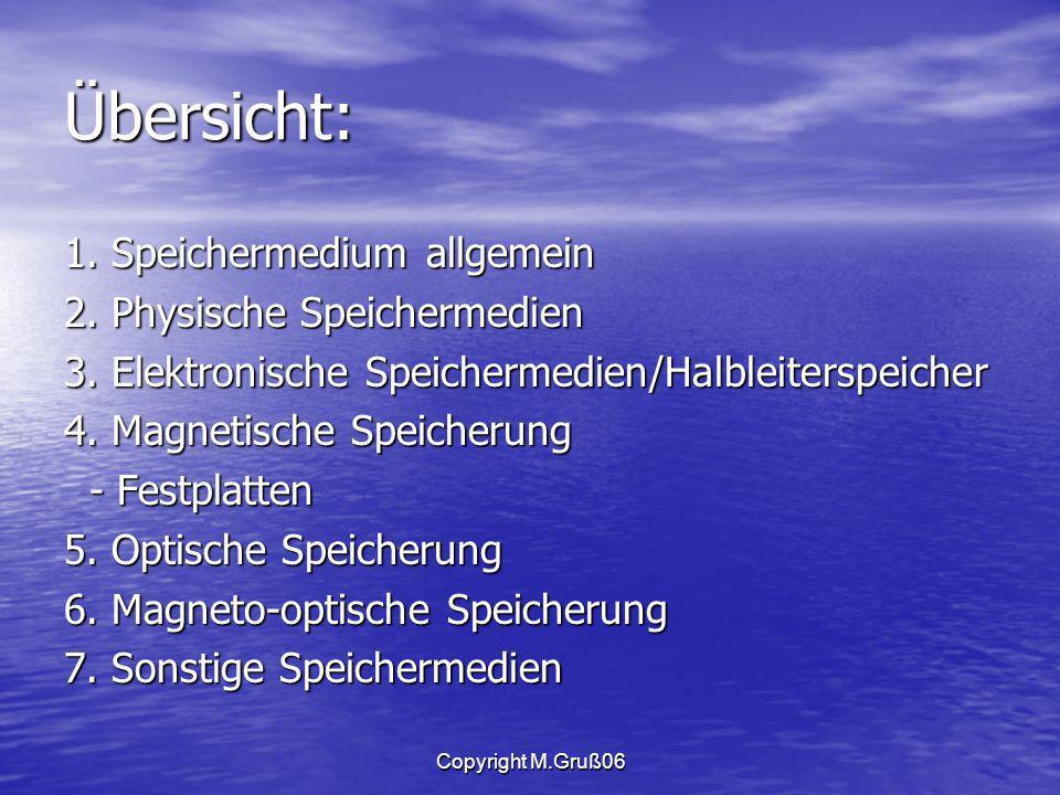 Copyright M.Gruß06 Übersicht: 1.Speichermedium allgemein 2.