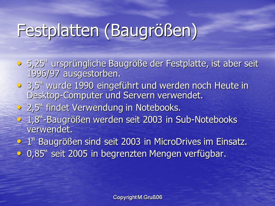 Copyright M.Gruß06 Festplatten (Baugrößen) 5,25 ursprüngliche Baugröße der Festplatte, ist aber seit 1996/97 ausgestorben.