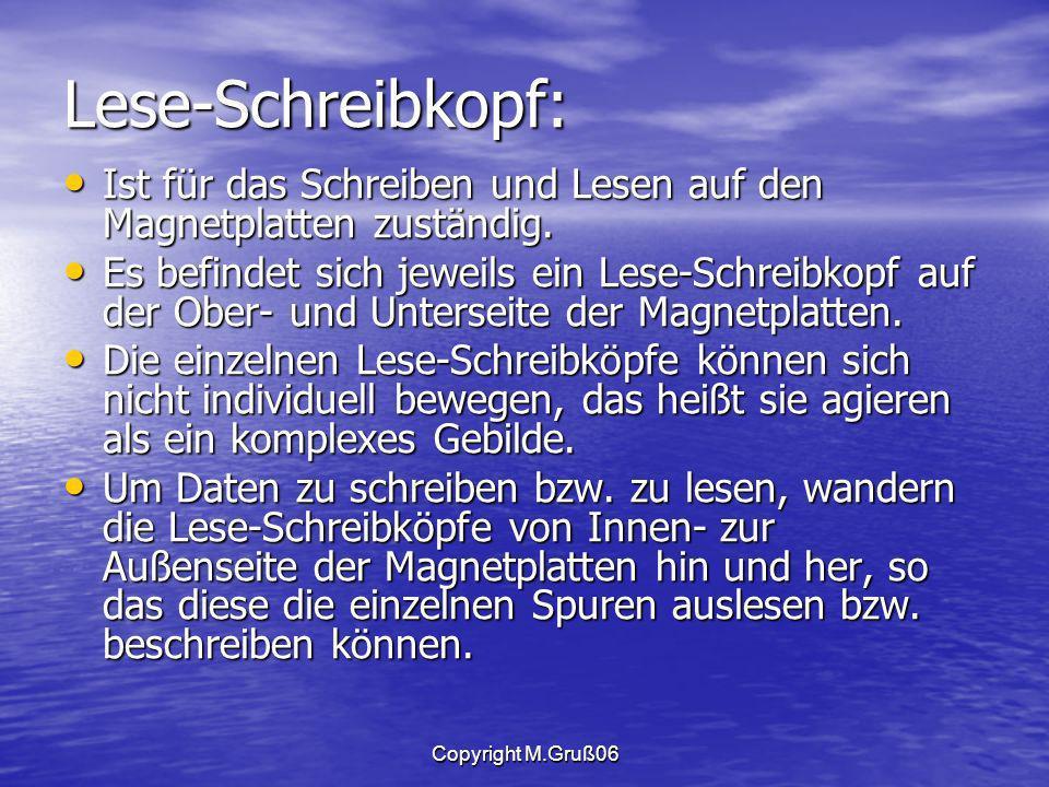 Copyright M.Gruß06 Lese-Schreibkopf: Ist für das Schreiben und Lesen auf den Magnetplatten zuständig.