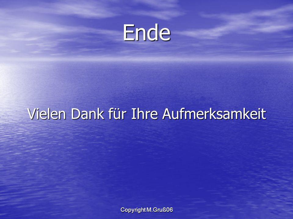 Copyright M.Gruß06 Ende Vielen Dank für Ihre Aufmerksamkeit