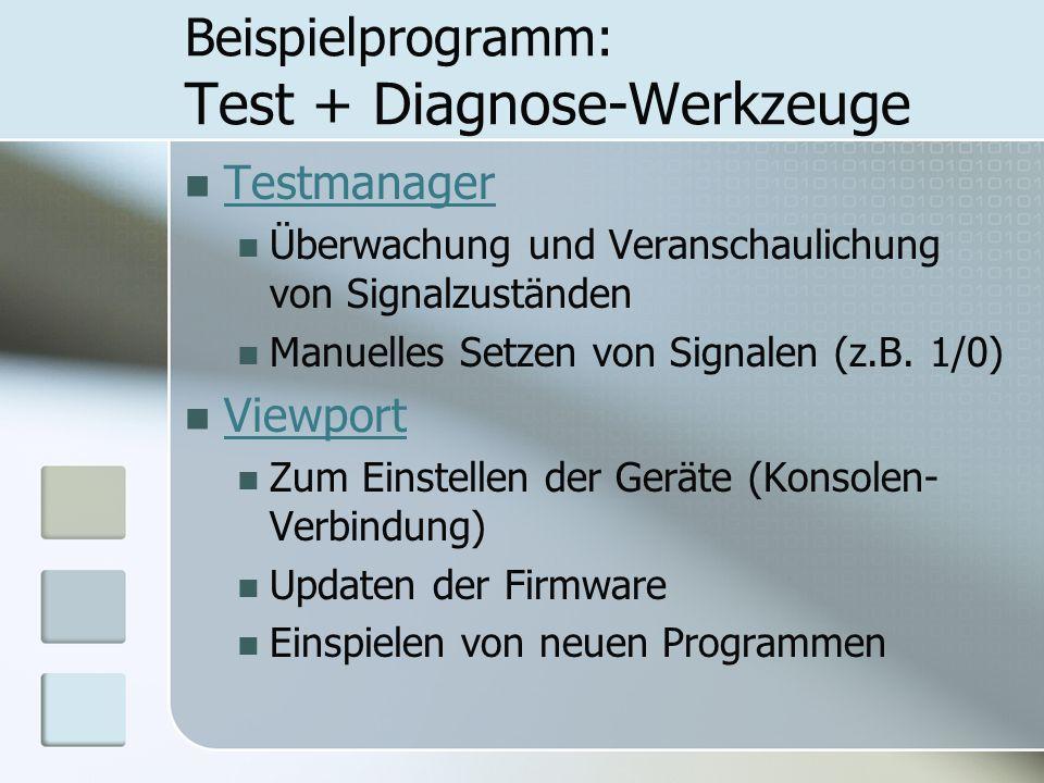 Beispielprogramm: Test + Diagnose-Werkzeuge Testmanager Überwachung und Veranschaulichung von Signalzuständen Manuelles Setzen von Signalen (z.B. 1/0)