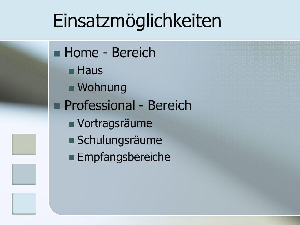 Einsatzmöglichkeiten Home - Bereich Haus Wohnung Professional - Bereich Vortragsräume Schulungsräume Empfangsbereiche