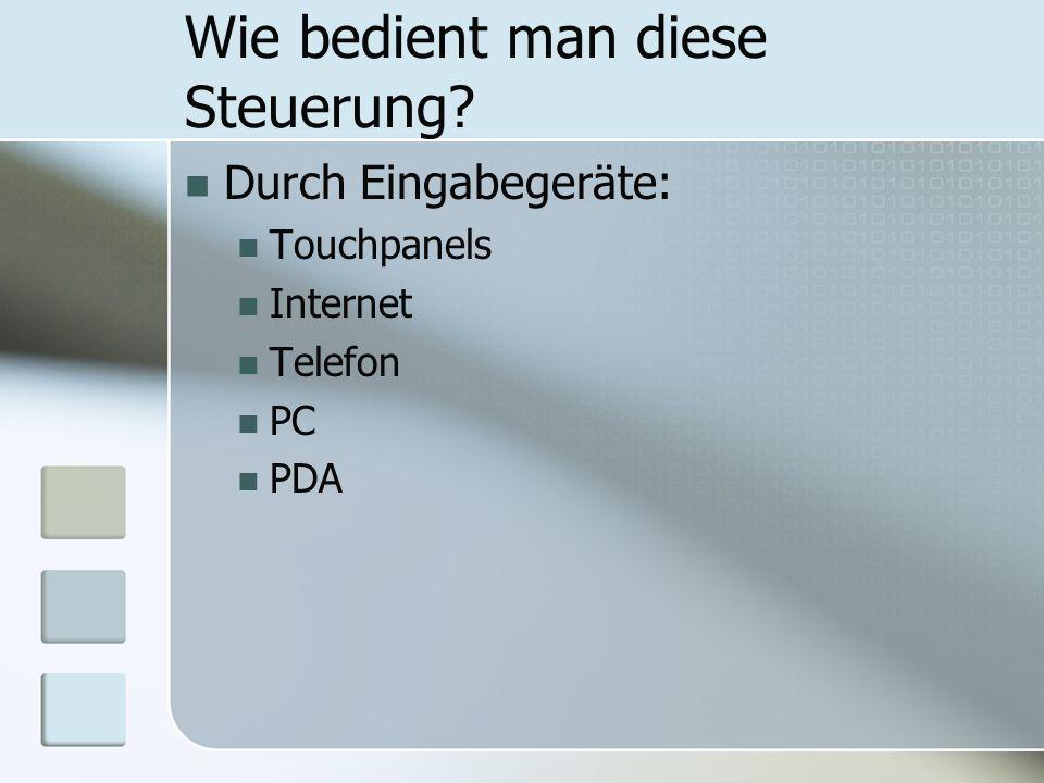 Wie bedient man diese Steuerung? Durch Eingabegeräte: Touchpanels Internet Telefon PC PDA