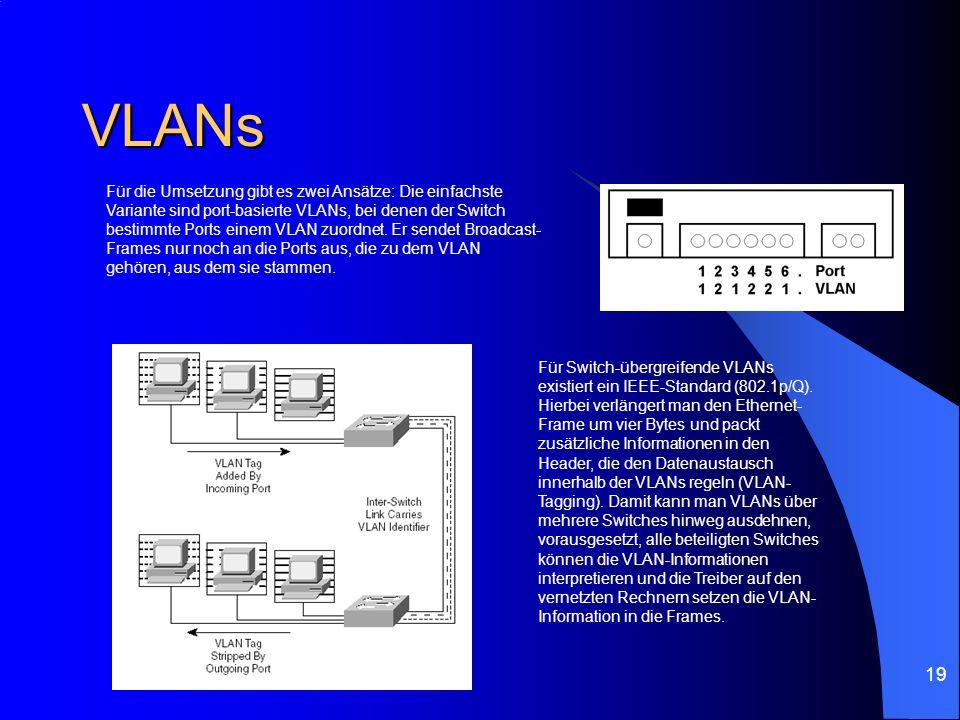 19 VLANs Für die Umsetzung gibt es zwei Ansätze: Die einfachste Variante sind port-basierte VLANs, bei denen der Switch bestimmte Ports einem VLAN zuo