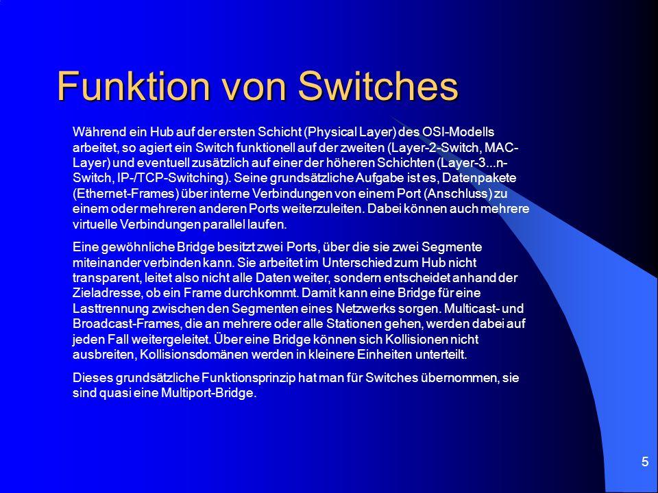 5 Funktion von Switches Während ein Hub auf der ersten Schicht (Physical Layer) des OSI-Modells arbeitet, so agiert ein Switch funktionell auf der zwe