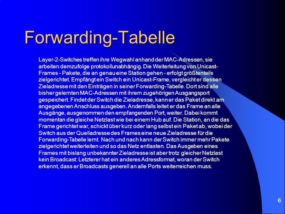 6 Forwarding-Tabelle Layer-2-Switches treffen ihre Wegwahl anhand der MAC-Adressen, sie arbeiten demzufolge protokollunabhängig. Die Weiterleitung von