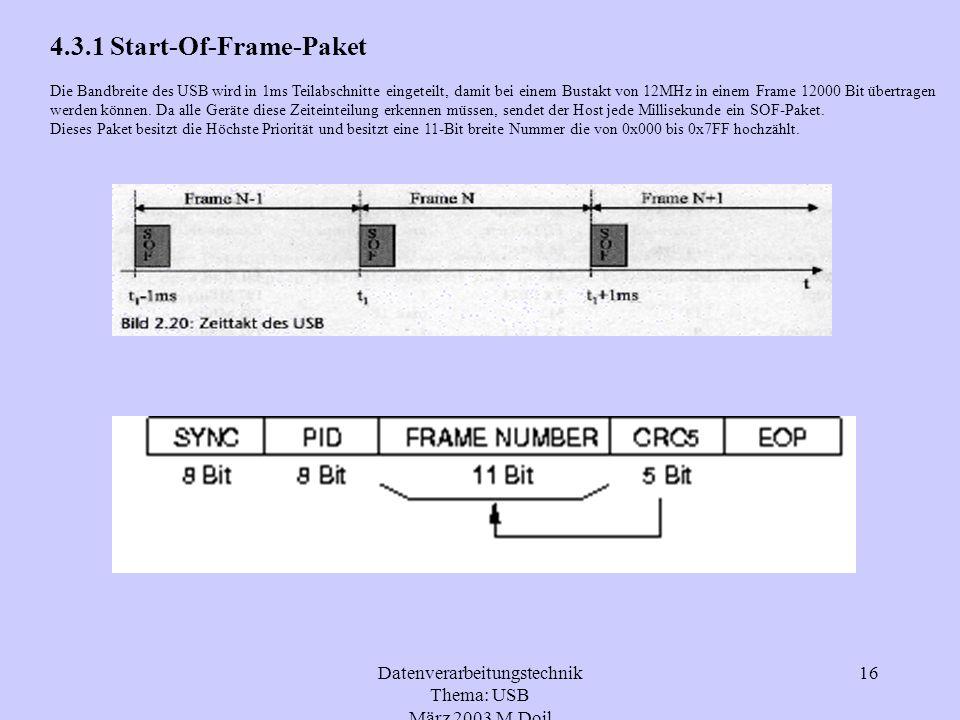 Datenverarbeitungstechnik Thema: USB März 2003 M.Doil 16 4.3.1 Start-Of-Frame-Paket Die Bandbreite des USB wird in 1ms Teilabschnitte eingeteilt, dami