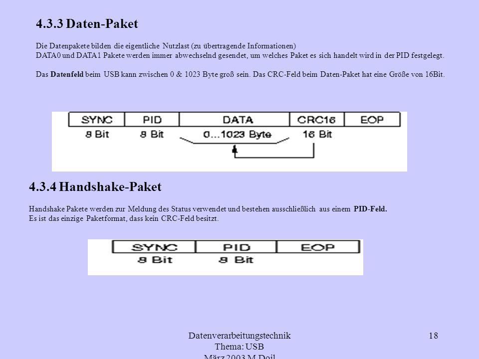 Datenverarbeitungstechnik Thema: USB März 2003 M.Doil 18 4.3.3 Daten-Paket Die Datenpakete bilden die eigentliche Nutzlast (zu übertragende Informatio