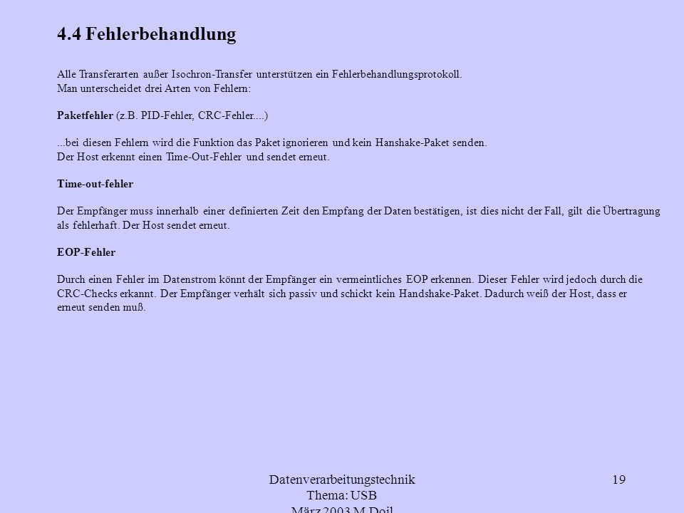 Datenverarbeitungstechnik Thema: USB März 2003 M.Doil 19 4.4 Fehlerbehandlung Alle Transferarten außer Isochron-Transfer unterstützen ein Fehlerbehand