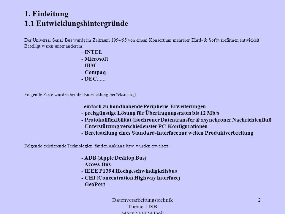 Datenverarbeitungstechnik Thema: USB März 2003 M.Doil 3 1.2 Versionen des USB Eigenschaften USB 1.1.