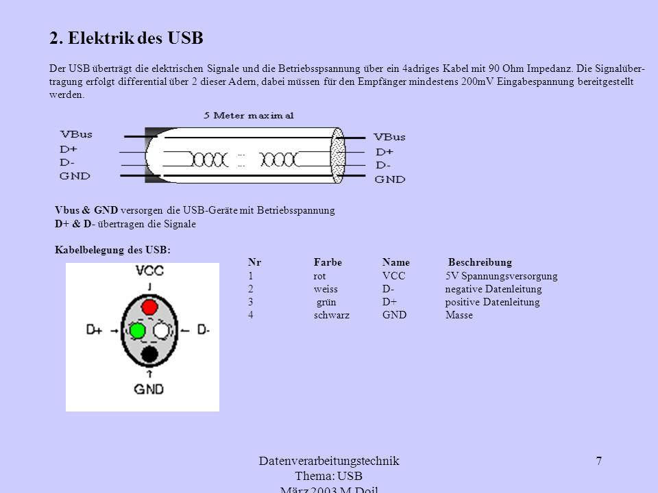 Datenverarbeitungstechnik Thema: USB März 2003 M.Doil 7 2. Elektrik des USB Der USB überträgt die elektrischen Signale und die Betriebsspsannung über