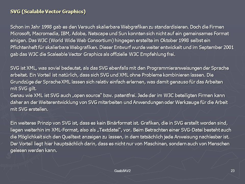 Gaab/IAV223 SVG (Scalable Vector Graphics) Schon im Jahr 1998 gab es den Versuch skalierbare Webgrafiken zu standardisieren. Doch die Firmen Microsoft