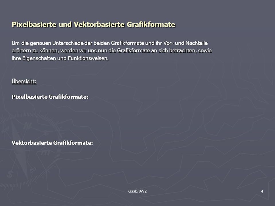 Gaab/IAV24 Pixelbasierte und Vektorbasierte Grafikformate Um die genauen Unterschiede der beiden Grafikformate und ihr Vor- und Nachteile erörtern zu