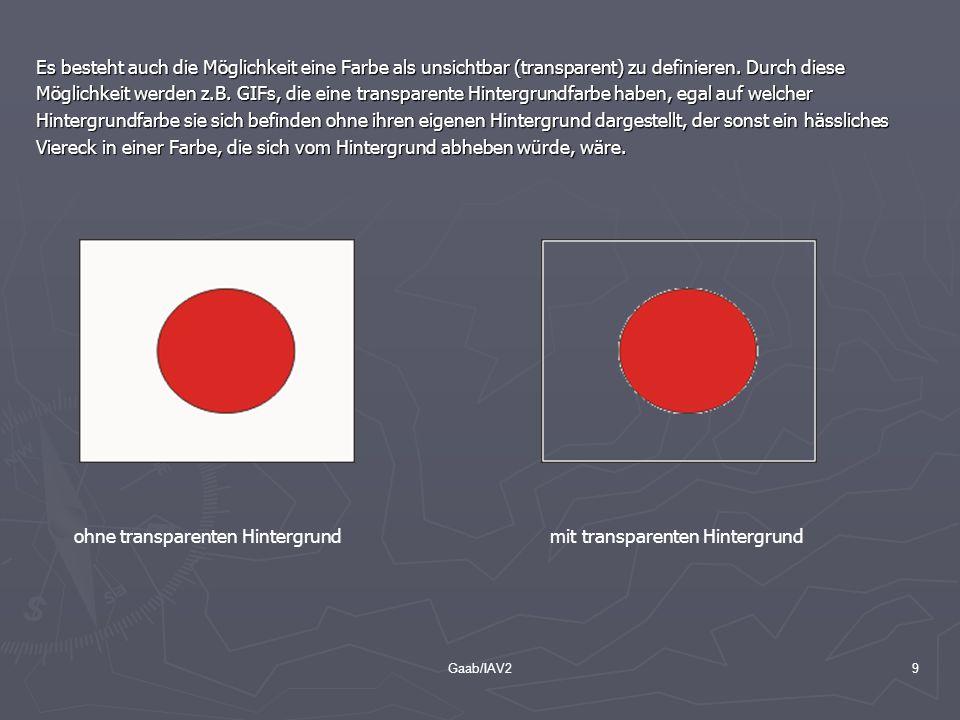 Gaab/IAV29 Es besteht auch die Möglichkeit eine Farbe als unsichtbar (transparent) zu definieren. Durch diese Möglichkeit werden z.B. GIFs, die eine t
