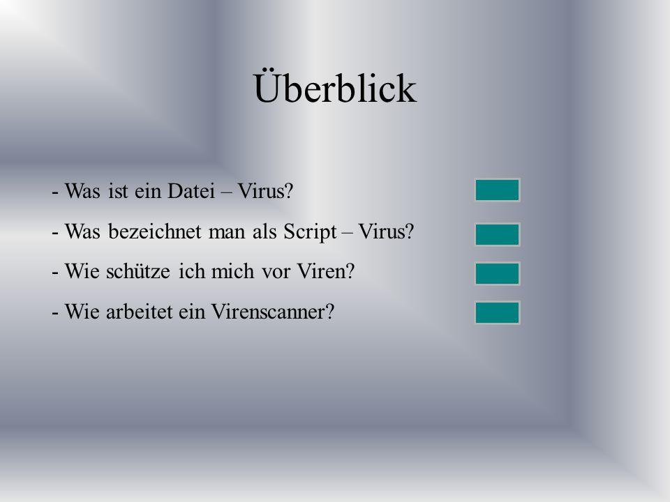 Überblick - Was ist ein Datei – Virus? - Was bezeichnet man als Script – Virus? - Wie schütze ich mich vor Viren? - Wie arbeitet ein Virenscanner?