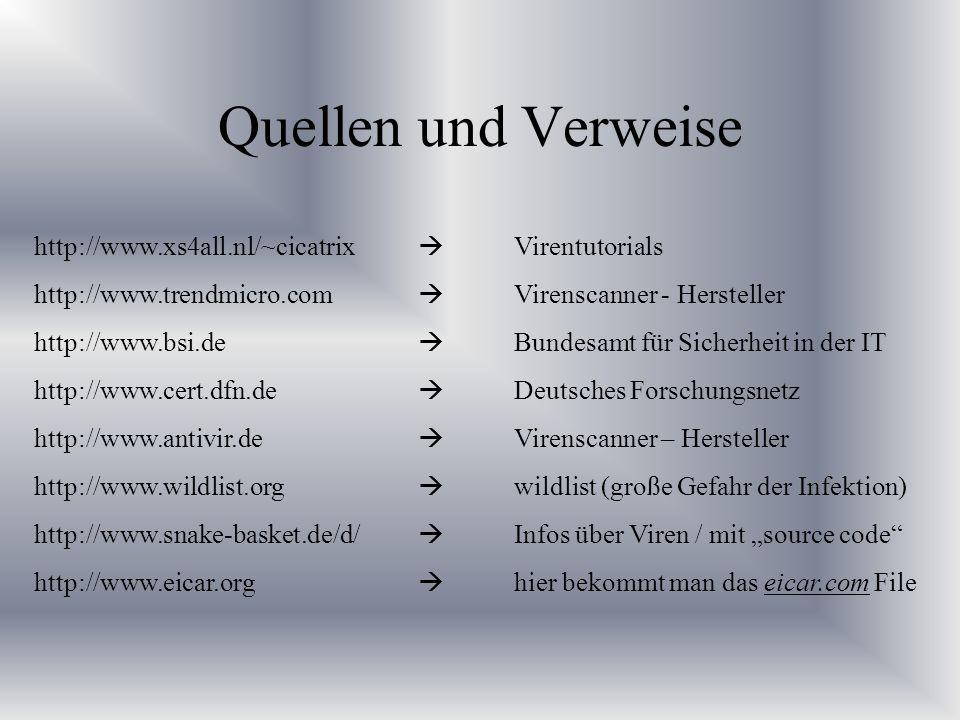 Quellen und Verweise http://www.xs4all.nl/~cicatrix Virentutorials http://www.trendmicro.com Virenscanner - Hersteller http://www.bsi.de Bundesamt für
