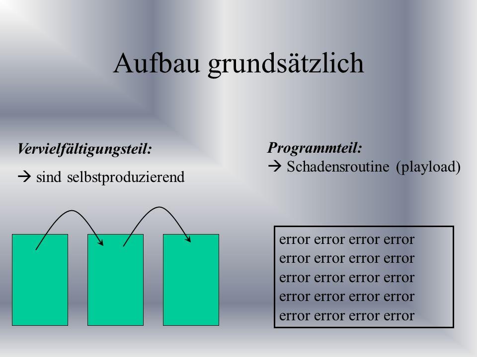 Aufbau grundsätzlich Vervielfältigungsteil: sind selbstproduzierend Programmteil: Schadensroutine (playload) error error error error error error error