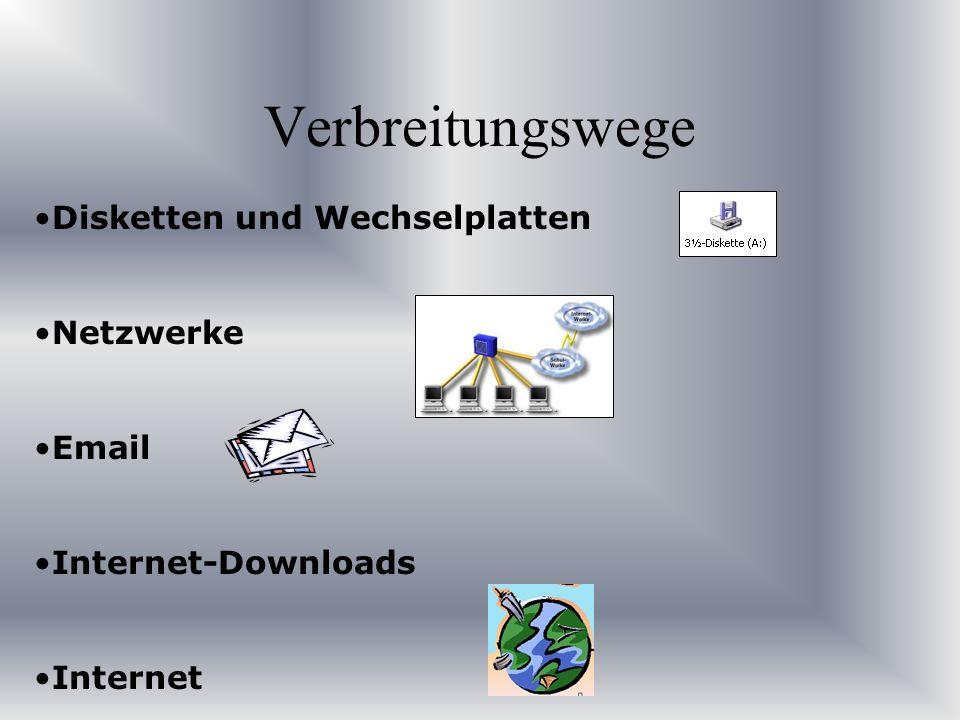 Disketten und Wechselplatten Netzwerke Email Internet-Downloads Internet Verbreitungswege