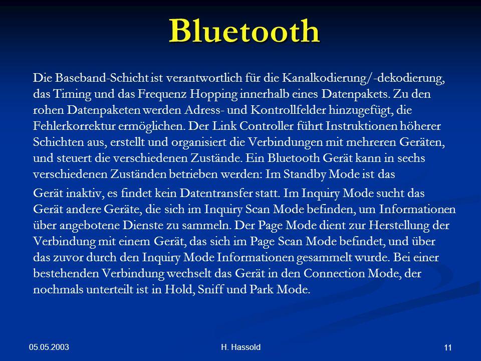 05.05.2003 H. Hassold 11 Bluetooth Die Baseband-Schicht ist verantwortlich für die Kanalkodierung/-dekodierung, das Timing und das Frequenz Hopping in