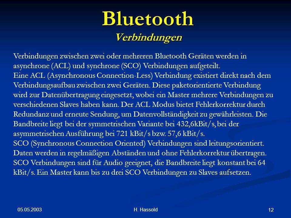 05.05.2003 H. Hassold 12 Bluetooth Verbindungen Verbindungen zwischen zwei oder mehreren Bluetooth Geräten werden in asynchrone (ACL) und synchrone (S
