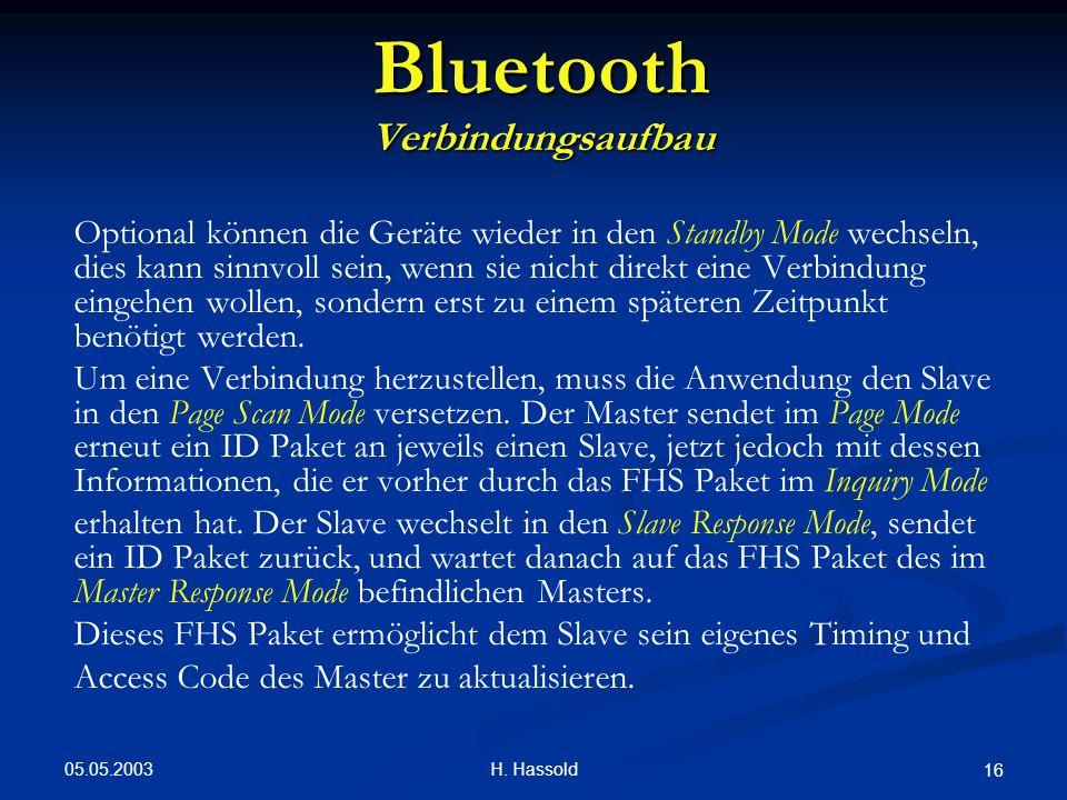 05.05.2003 H. Hassold 16 Bluetooth Verbindungsaufbau Optional können die Geräte wieder in den Standby Mode wechseln, dies kann sinnvoll sein, wenn sie