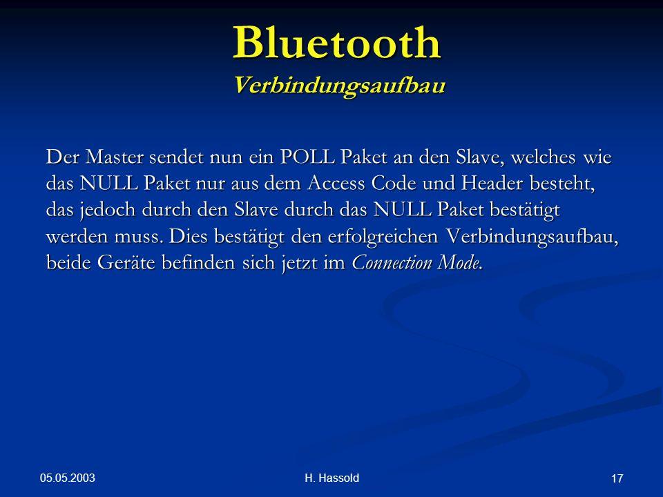 05.05.2003 H. Hassold 17 Bluetooth Verbindungsaufbau Der Master sendet nun ein POLL Paket an den Slave, welches wie das NULL Paket nur aus dem Access
