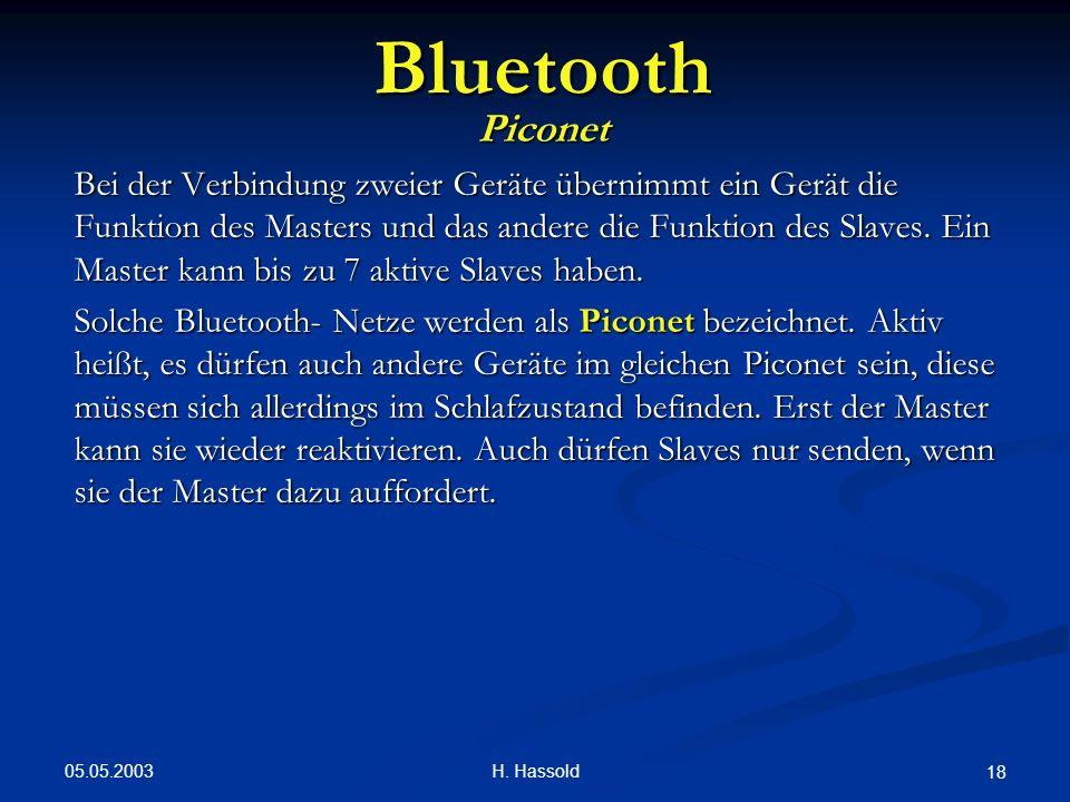 05.05.2003 H. Hassold 18 Bluetooth Piconet Bei der Verbindung zweier Geräte übernimmt ein Gerät die Funktion des Masters und das andere die Funktion d