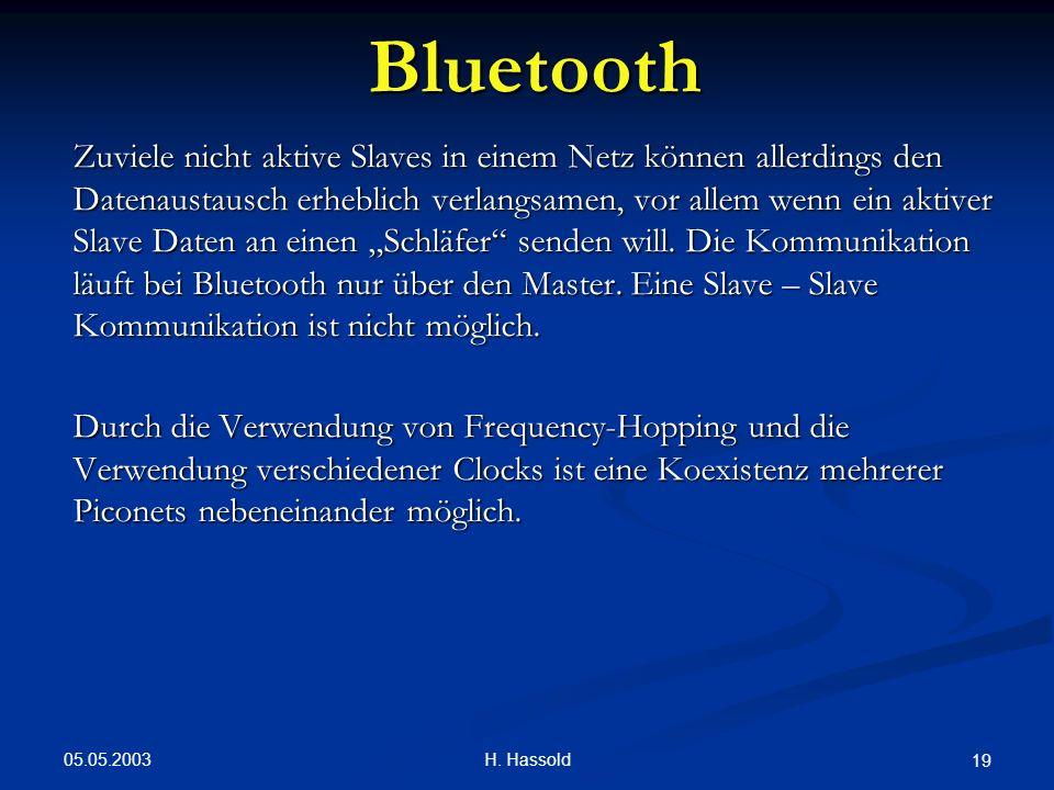 05.05.2003 H. Hassold 19 Bluetooth Zuviele nicht aktive Slaves in einem Netz können allerdings den Datenaustausch erheblich verlangsamen, vor allem we