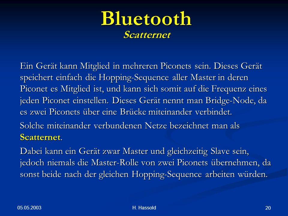 05.05.2003 H. Hassold 20 Bluetooth Scatternet Ein Gerät kann Mitglied in mehreren Piconets sein. Dieses Gerät speichert einfach die Hopping-Sequence a