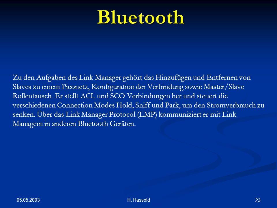 05.05.2003 H. Hassold 23 Bluetooth Zu den Aufgaben des Link Manager gehört das Hinzufügen und Entfernen von Slaves zu einem Piconetz, Konfiguration de