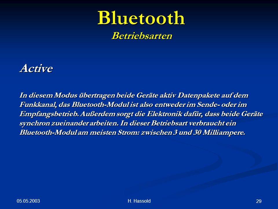 05.05.2003 H. Hassold 29 Bluetooth Betriebsarten Active In diesem Modus übertragen beide Geräte aktiv Datenpakete auf dem Funkkanal, das Bluetooth-Mod