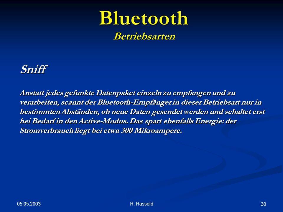 05.05.2003 H. Hassold 30 Bluetooth Betriebsarten Sniff Anstatt jedes gefunkte Datenpaket einzeln zu empfangen und zu verarbeiten, scannt der Bluetooth