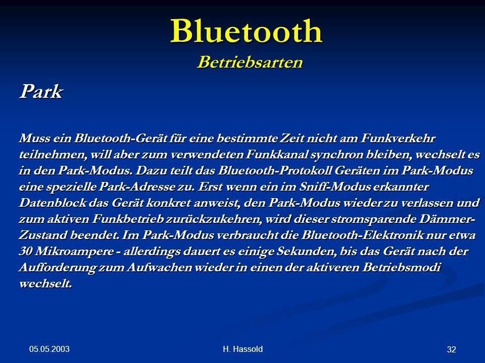05.05.2003 H. Hassold 32 Bluetooth Betriebsarten Park Muss ein Bluetooth-Gerät für eine bestimmte Zeit nicht am Funkverkehr teilnehmen, will aber zum