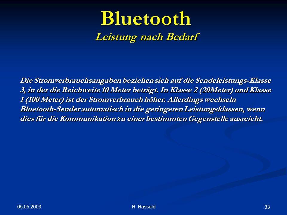 05.05.2003 H. Hassold 33 Bluetooth Leistung nach Bedarf Die Stromverbrauchsangaben beziehen sich auf die Sendeleistungs-Klasse 3, in der die Reichweit