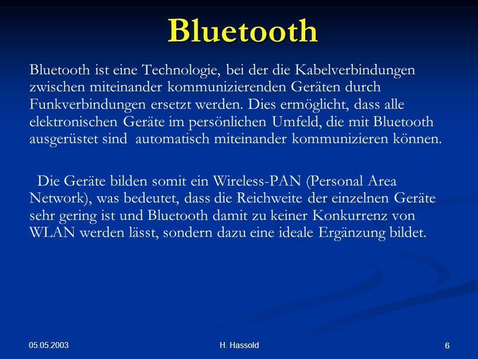 05.05.2003 H. Hassold 6 Bluetooth Bluetooth ist eine Technologie, bei der die Kabelverbindungen zwischen miteinander kommunizierenden Geräten durch Fu