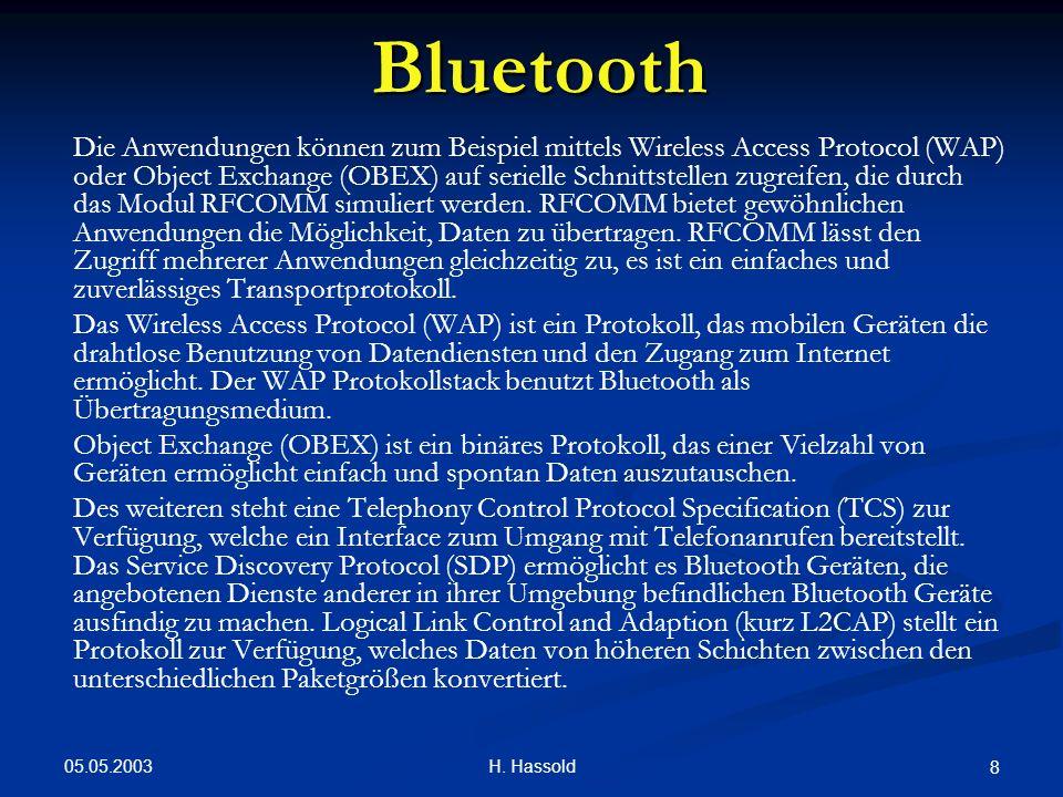 05.05.2003 H. Hassold 8 Bluetooth Die Anwendungen können zum Beispiel mittels Wireless Access Protocol (WAP) oder Object Exchange (OBEX) auf serielle