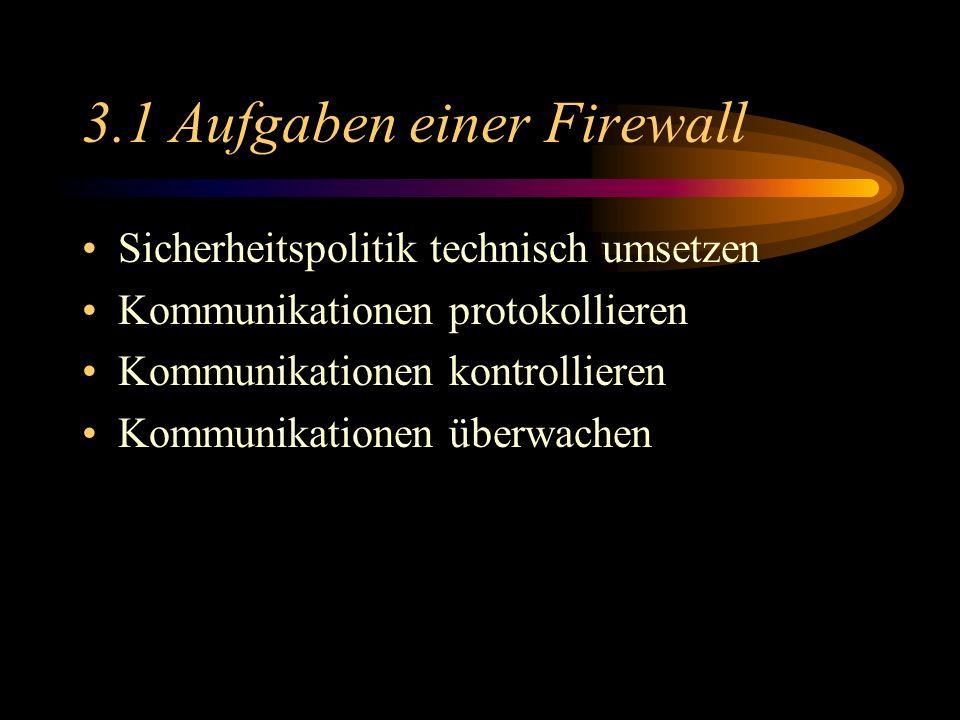 3.1 Aufgaben einer Firewall Sicherheitspolitik technisch umsetzen Kommunikationen protokollieren Kommunikationen kontrollieren Kommunikationen überwachen