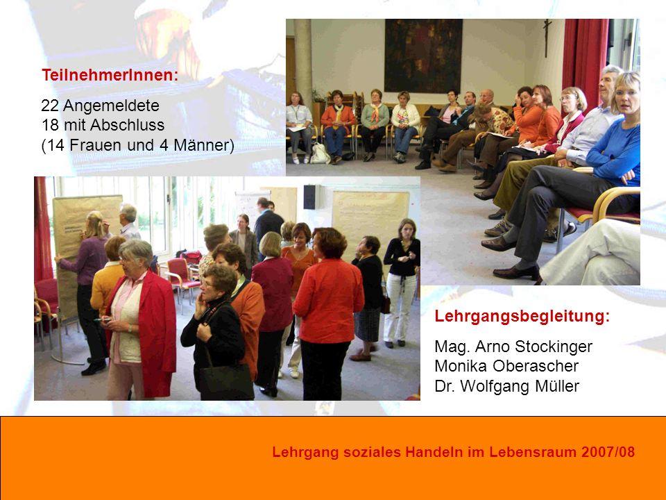 Lehrgang soziales Handeln im Lebensraum 2007/08 Lehrgangsbegleitung: Mag.