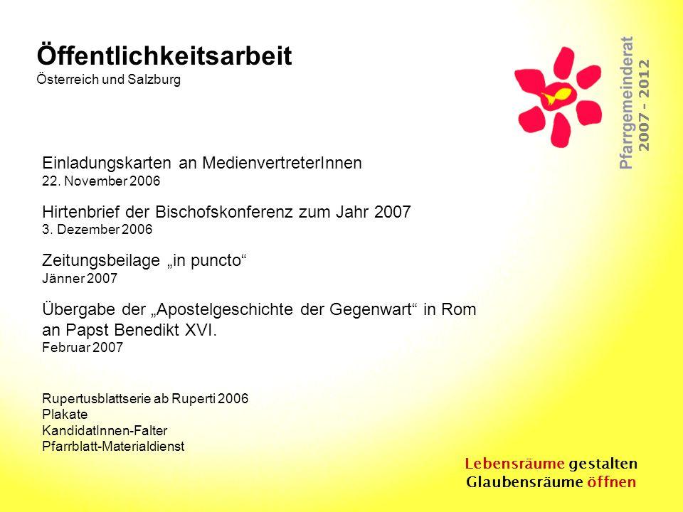 Lebensräume gestalten Glaubensräume öffnen 2007 - 2012 Einladungskarten an MedienvertreterInnen 22. November 2006 Hirtenbrief der Bischofskonferenz zu