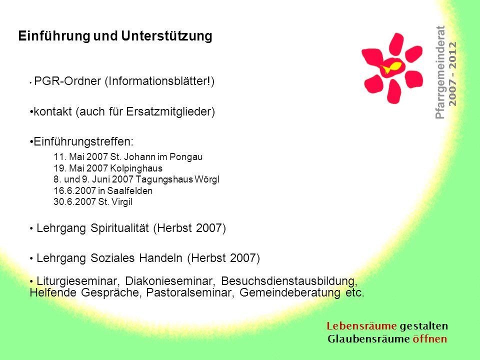 Lebensräume gestalten Glaubensräume öffnen 2007 - 2012 Einführung und Unterstützung PGR-Ordner (Informationsblätter!) kontakt (auch für Ersatzmitglied