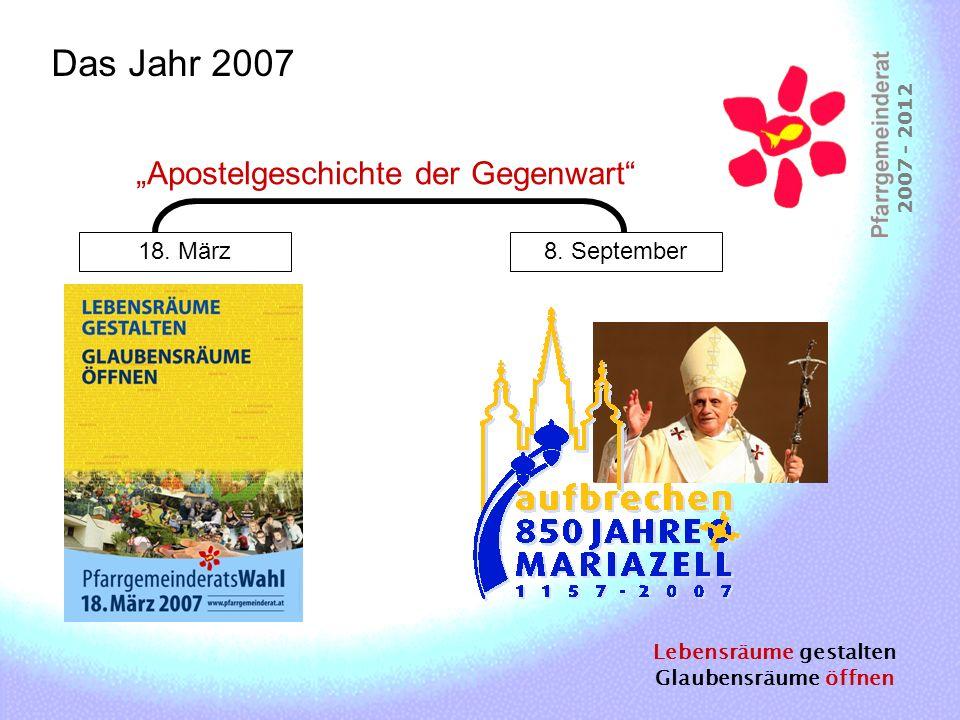 Lebensräume gestalten Glaubensräume öffnen 2007 - 2012 Das Jahr 2007 18. März8. September Apostelgeschichte der Gegenwart
