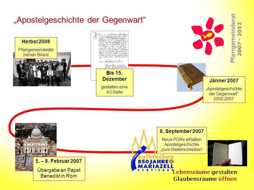 Lebensräume gestalten Glaubensräume öffnen 2007 - 2012 Apostelgeschichte der Gegenwart Herbst 2006 Pfarrgemeinderäte ziehen Bilanz Bis 15. Dezember ge