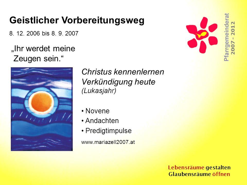 Lebensräume gestalten Glaubensräume öffnen 2007 - 2012 Christus kennenlernen Verkündigung heute (Lukasjahr) Novene Andachten Predigtimpulse www.mariaz